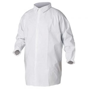 Kimberly-Clark Professional KleenGuard A40 Liquid & Particle Protection Lab Coats, Chest & Hip Pocket Kleenguard A40 Liquid and Particle Protection Lab Coats are made of microporous film laminate with serged seams, elastic wrists and a 5-snap closure (no pockets) These lab coats offer better liquid and particulate barrier than TYVEK Made to keep out debris, dry particulates and liquid splashes A40 Kleenguard protective aprons pass NFPA 99 criteria for antistatic materials Only available in an XL size