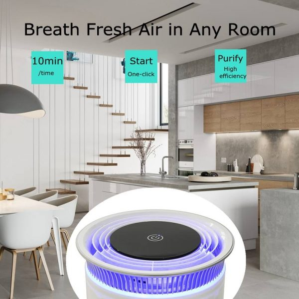 UVC Sanitizing Air Filter AIR PURIFIER FOR ALLERGIES AND PETS: Captures airborne pollutants; pet dander, pollen, dust mites, mold spores, odors, and household dust. Ideal for people who suffer from allergies or have nasal sensitivity. 3 LEVELS OF POWERFUL FILTRATION: This model features 3 levels advanced filtration to deliver the cleanest air quality. A combination filter cartridge includes a mesh pre-filter, activated carbon filter, plus a UV-C light and Ion generator work to sanitize the air even further.