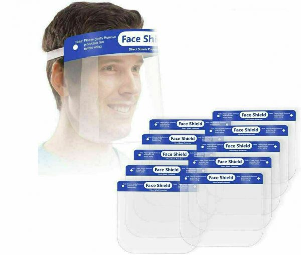 Full Face Shield Resuable Masks with Anti-Fog - 100CT Perfect for frontline staff, medical workers and anyone looking for maximum face protection. These full-shield face masks are high quality and made to be adjustable to any size. They also are anti-fog so they do not fog up with regular breathing. LIMITED TO 300 MASKS PER ORDER This item has FREE SHIPPING in the USA
