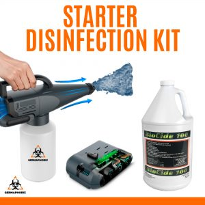 Starter Disinfection Kit The Starter Disinfection Kit is great for smaller spaces such as retail stores, offices, homes and hotel rooms. This kit includes a handheld Mr. Spray electrostatic sprayer, an extra battery for prolonged use and a case of Biocide 100 disinfectant.