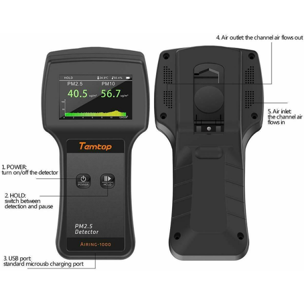 Temtop Airing-1000 Air Quality Monitor PM2.5 Detector Now anyone can easily test the air quality in almost any environment using this state-of-the-art air quality monitoring device which includes: Built-in high-capacity battery. LCD display screen shows the testing results. Suitable to use at home, office, in the car, outdoors and other environments. An ideal multi-function testing tool to monitor the air quality and safeguard health. Compact and lightweight design makes it comfortable to carry. Detection time is quick and accurate. Easy to operate with simple system settings through 2 function buttons. Built-in large capacity lithium battery with long stand by time which can be charged by USB cable!