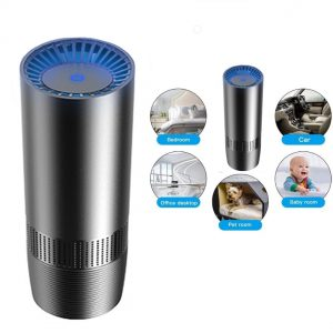 PürAir Portable Air Purifier Air purifier and odor removal: The PürAir Portable Air Purifier produces 10 million negative ions / cm³, which cleans the air from pollutants such as smoke, dust, odors, PM2.5, pollen, formaldehyde, benzene and smoke. The PürAir air purifier is particularly suitable for allergy sufferers. Auto Mode & Smart Sensor: Supported by a built-in smoke and odor sensor, this HEPA car air purifier is also a smart odor eliminator. In auto mode, it will adjust the fan speed according to real-time air quality in your room or vehicle. It also has 3 speed settings that can be adjusted manually. 4-Stage Filtration: Traps large particles like dust mites. Removes allergens, pollen, mold and other irritants. Eliminates smoke and other odor-causing bacteria. Removes 99.97% airborne pollutants such as pollen and other fine particles. Elegant and Portable: The PürAir air purifier fits perfectly into any standard cup holder and is easy and convenient to carry. The air purifier can be used anywhere. It is ideal for vehicles, smoking rooms, and offices.  PürAir air purifier is suitable for a living space of under 28 m². Convenient to Use: USB control, can be powered by laptop, power bank or wall outlet via USB cable.