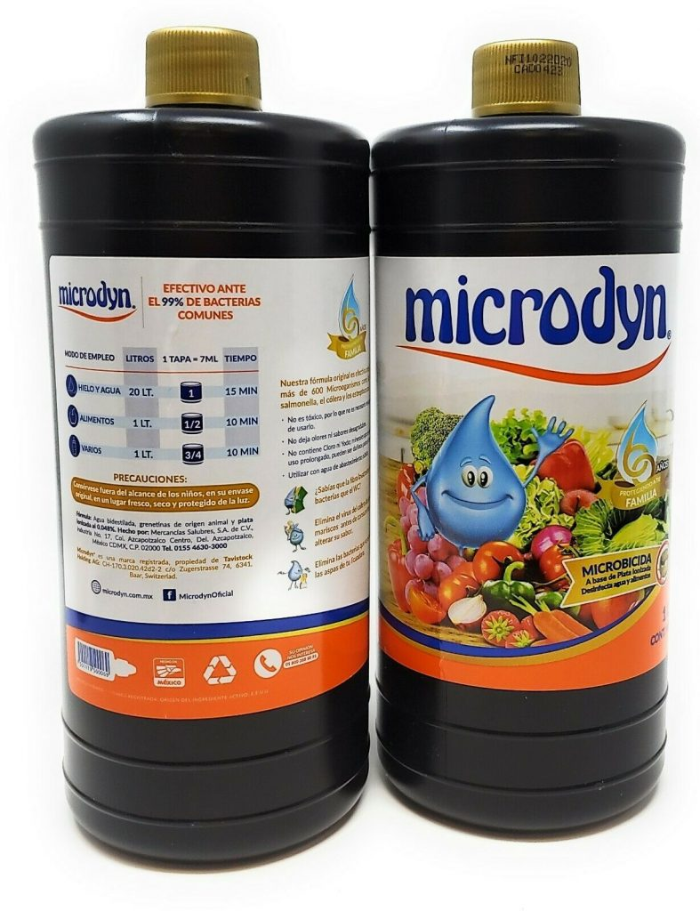 Microdyn Fruit and Vegetable Wash (2 Pack) Add 8 dropfuls to 1 liter of water and soak fruit, vegetables and food for 10 minutes Made in Mexico; packaging in Spanish; hecho en Mexico Great travel item when visiting foreign countries for backpacking, camping, hiking and more. Microdyn Fruit and Vegetable Wash Options: 500ml bottles (2 pack) or 1000ml bottles (2 pack)