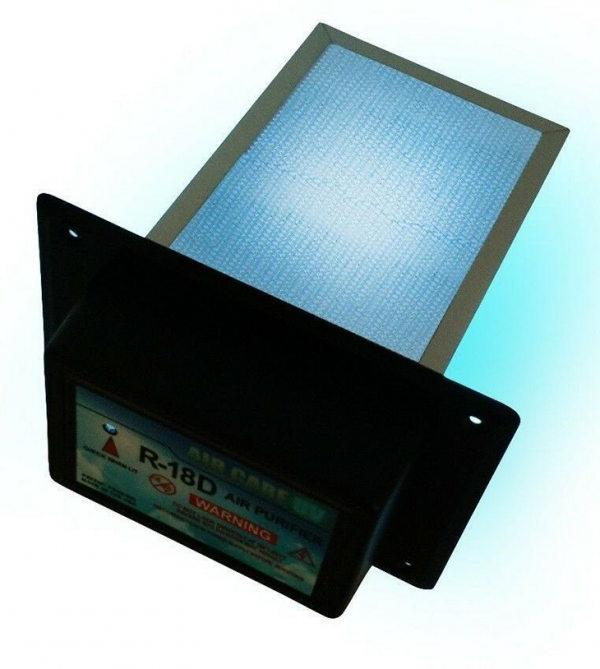 """AirCare HVAC Air Purifier & UV-C Sterilizer Aluminum honeycomb PCO filter made for a maintance-free product that lasts a lifetime. Photocatalytic Oxidation (PCO) is a very powerful air purification technology and has the ability to destroy particles as small as 0.001 microns (nanometer) whereas HEPA filters can only filter particles as small as 0.3 microns. Manufacturer Warranty: 5 years Installation is very simple and takes only 15 minutes. Use the template included in package to cut a hole in your duct and slip the UVC PCO filter inside while attaching the aluminum strips inside. Then simply plug it in with the 9 ft cord included in the box. Dimensions inside duct: 8"""" Power: 120 50/60Hz Amps: 0.36A Lamp Life: 13,000 hours"""