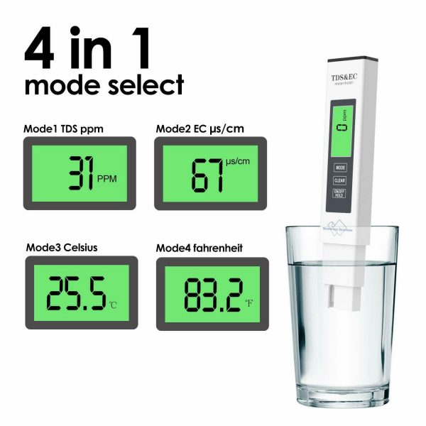 Digital TDS Meter 4-in-1 Water Quality Tester TDS (Total Dissolved Solids) is a measurement of all solids dissolved in drinking water and is mainly made up of minerals. A high level of TDS is an indicator of potential concerns and should be investigated before drinking. This TDS meter is widely used in all water quality tests. Water Purification Applications, Aquaculture, Hydroponics, Pool & Colloidal Silver, Water Treatment and more. It is a must-have item for the family and is able to test tap water, distilled water, bottled water and more. This 4-in-1 TDS meter combines TDS, EC, and a temperature meter for improved accuracy.