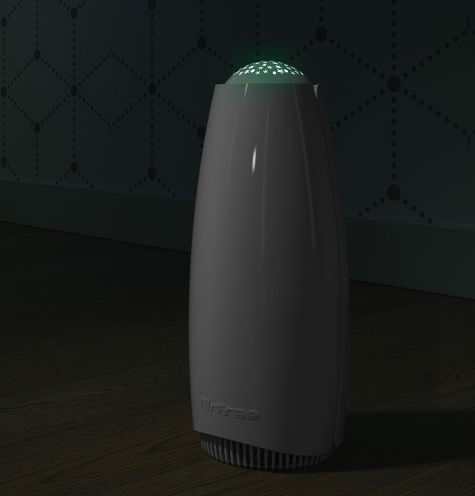 Babyair Air Purifier Airfree Babyair uses the silent, maintenance free and exclusive TSS technology. Babyair offers the unique stars night light projection that creates a pleasant and soothing interactive environment. This patented Thermodynamic TSS Technology destroys mold, dust mites, bacteria, viruses, pollens, pet dander, tobacco and other organic allergens. Airfree also reduces indoor harmful ozone levels. It is perfect for mold contaminated areas as well as asthma and allergy sufferers. Airfree's exclusive technology is completely silent and does not require any filters or maintenance. Recommended for rooms up to 450 ft².